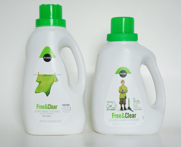 Fabric Softener (left) and Laundry Detergent (right)